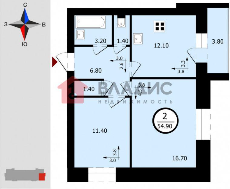 Продается двухкомнатная квартира за 1 701 900 рублей. Владимир, Октябрьский район, Куйбышева, 4 корп. 2.