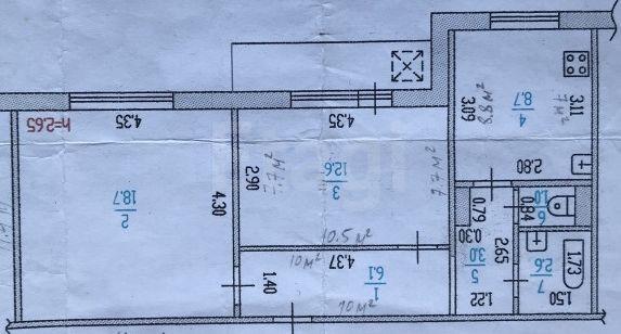 Продается двухкомнатная квартира за 3 200 000 рублей. Барнаул, Железнодорожный район, Строителей проспект, 34.