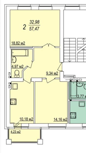 Продается двухкомнатная квартира за 3 600 000 рублей. Новосибирск, Кировский район, Пригородная, 17.