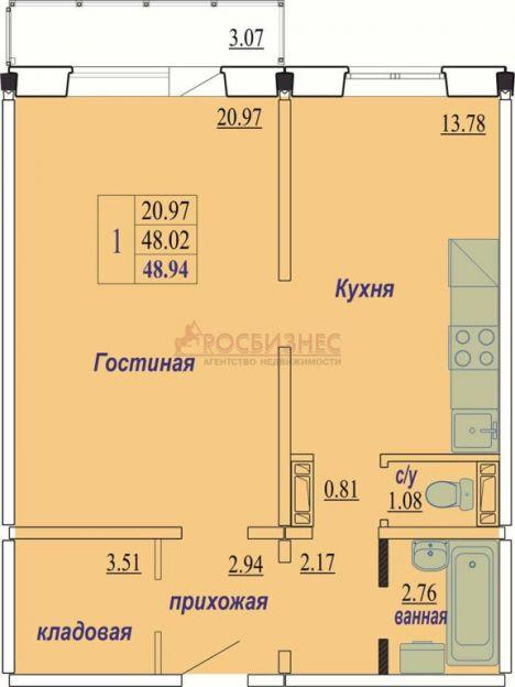 Продается однокомнатная квартира за 1 650 000 рублей. Новосибирск, Октябрьский район, В. Высоцкого, 140/8.
