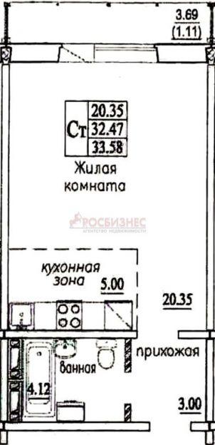 Продается однокомнатная квартира за 1 100 081 рублей. Новосибирск, Октябрьский район, В. Высоцкого, 140/2.