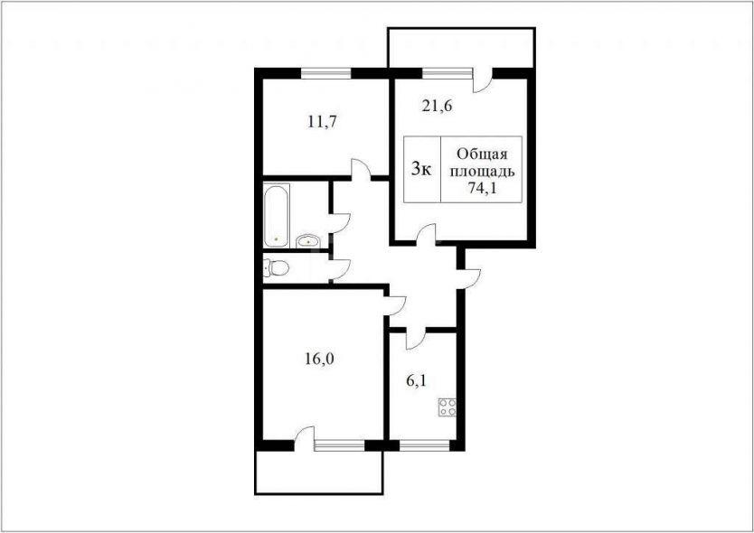 Продается трехкомнатная квартира за 3 600 000 рублей. Томск, Ленинский район, Ленина проспект, 243/2.