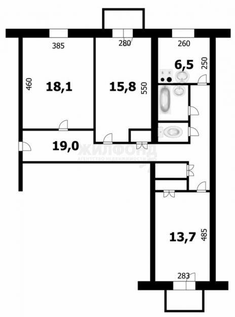 Продается трехкомнатная квартира за 3 150 000 рублей. г Новосибирск, пр-кт Дзержинского, д 79.
