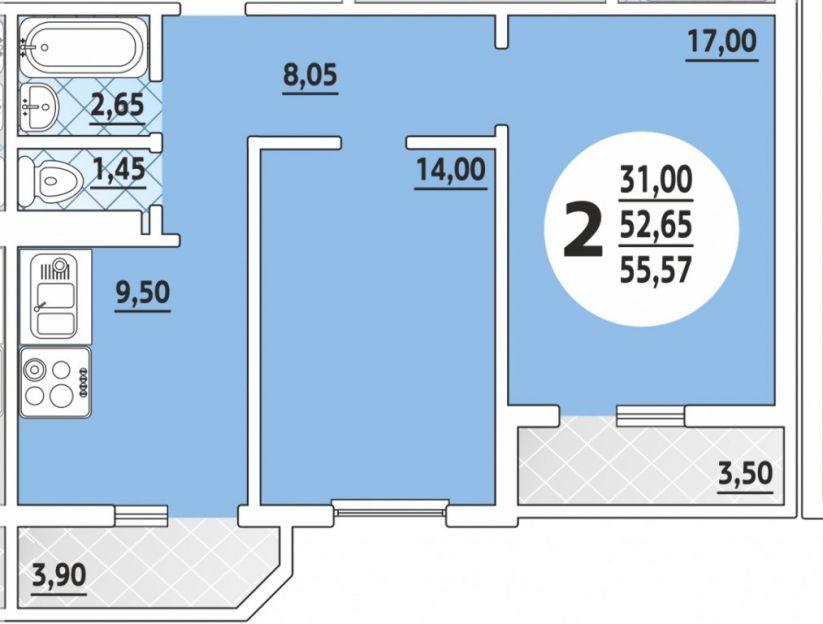 Продается двухкомнатная квартира за 2 850 000 рублей. Краснодар, им 40-летия Победы, 188.