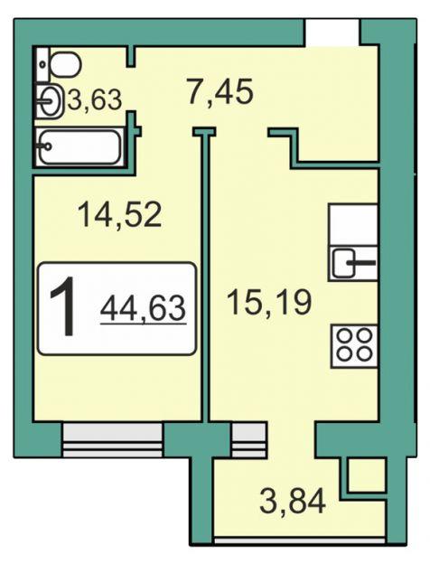 Продается однокомнатная квартира за 2 005 683 рублей. Рязань, Мервинская, 20.