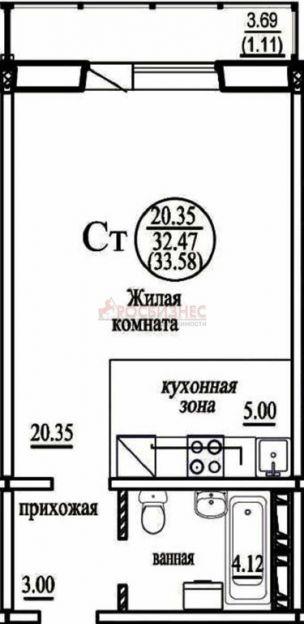 Продается однокомнатная квартира за 1 060 000 рублей. Новосибирск, Октябрьский район, В. Высоцкого, 140.