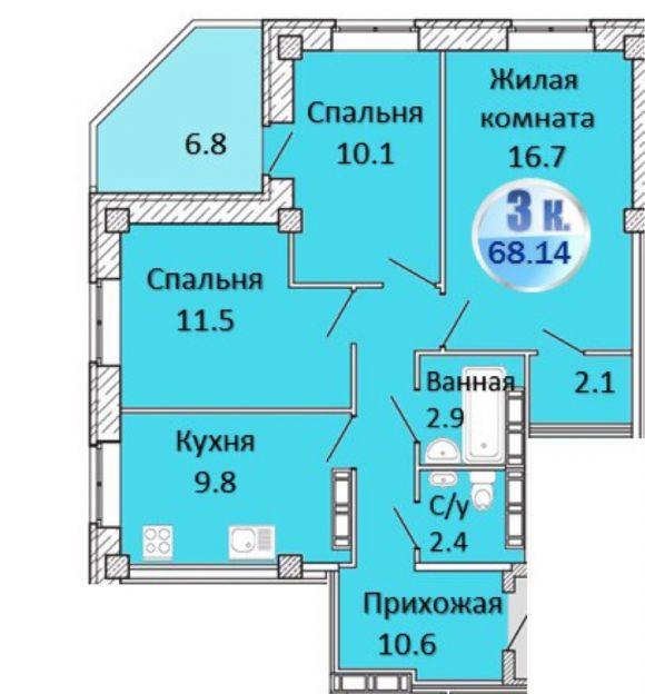 Продается трехкомнатная квартира за 3 150 000 рублей. Омск, Кировский район, Енисейская 3-я, 28.
