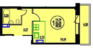 Продается однокомнатная квартира за 1 400 000 рублей. Пермь, Кировский район, Черниговская, 5.