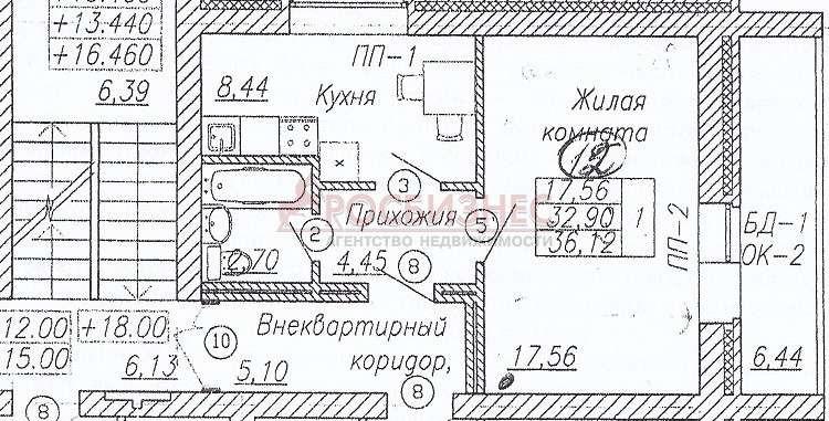 Продается однокомнатная квартира за 1 800 000 рублей. Новосибирск, Кировский район, Петухова, 6/4.