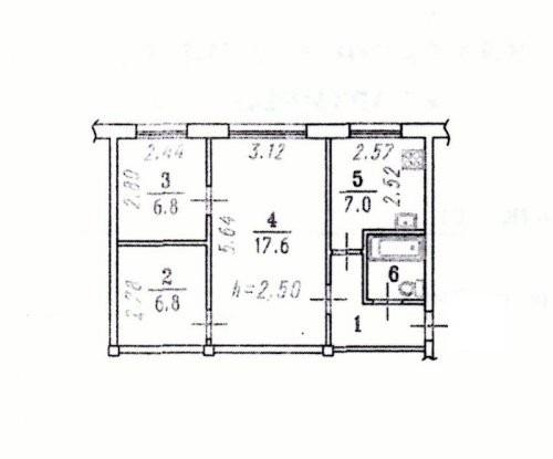 Продается трехкомнатная квартира за 1 700 000 рублей. Омск, Центральный район, Северная 30-я, 68.