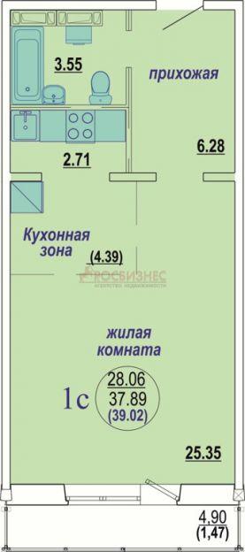 Продается однокомнатная квартира за 1 349 000 рублей. Новосибирск, Октябрьский район, В. Высоцкого, 143/9.