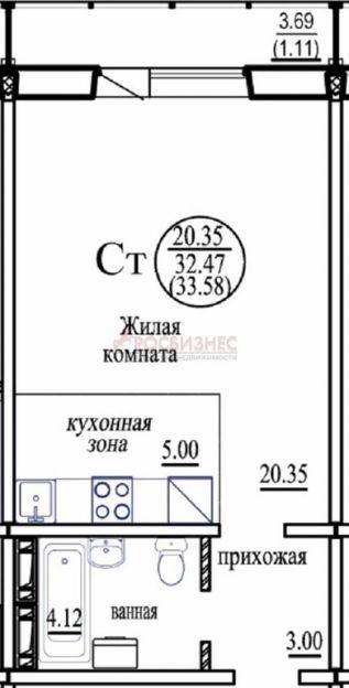 Продается однокомнатная квартира за 1 200 000 рублей. Новосибирск, Октябрьский район, В. Высоцкого, 143/4.