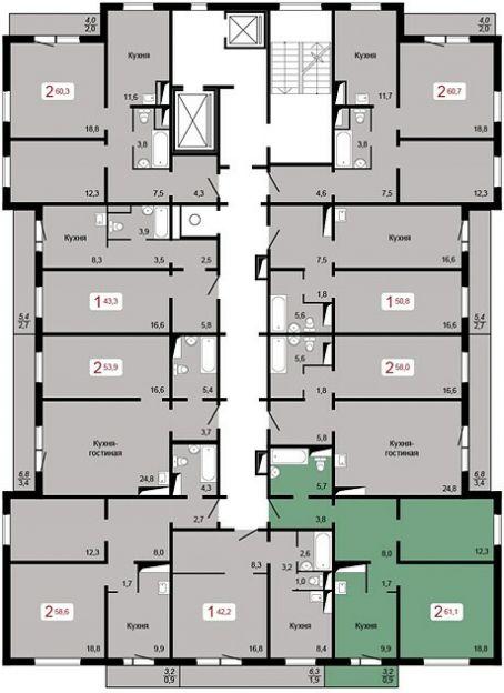 Продается двухкомнатная квартира за 3 100 000 рублей. г Красноярск, ул Курчатова, д 8, кв 2.