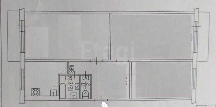 Продается трехкомнатная квартира за 3 750 000 рублей. Барнаул, Индустриальный район, Малахова, 158.