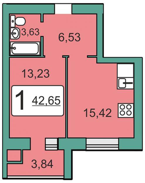 Продается однокомнатная квартира за 1 807 147 рублей. Рязань, Мервинская, 20.