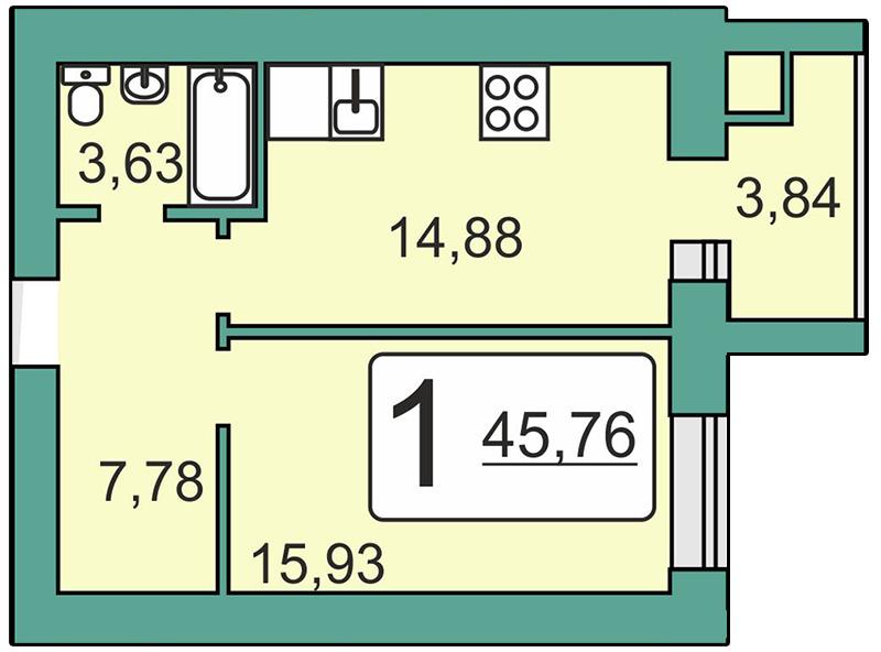 Продается однокомнатная квартира за 1 933 266 рублей. Рязань, Мервинская, 20.