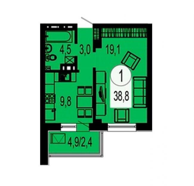 Продается однокомнатная квартира за 2 699 000 рублей. Красноярск, Свердловский район, Ярыгинская набережная, 5.