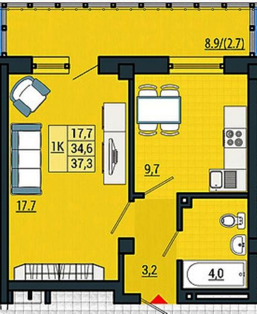 Продается однокомнатная квартира за 1 798 000 рублей. Красноярск, Свердловский район, Александра Матросова, 30пс2.