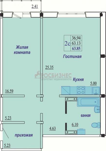 Продается двухкомнатная квартира за 2 200 000 рублей. Новосибирск, Октябрьский район, В. Высоцкого, 150/2.