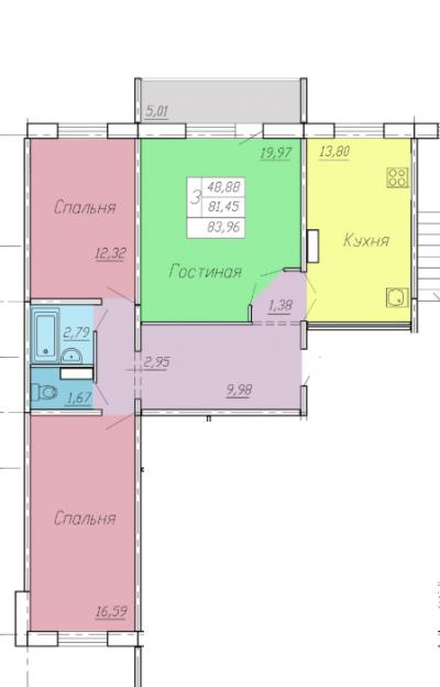 Продается трехкомнатная квартира за 3 485 000 рублей. Омск, Советский район, Малиновского, 23.