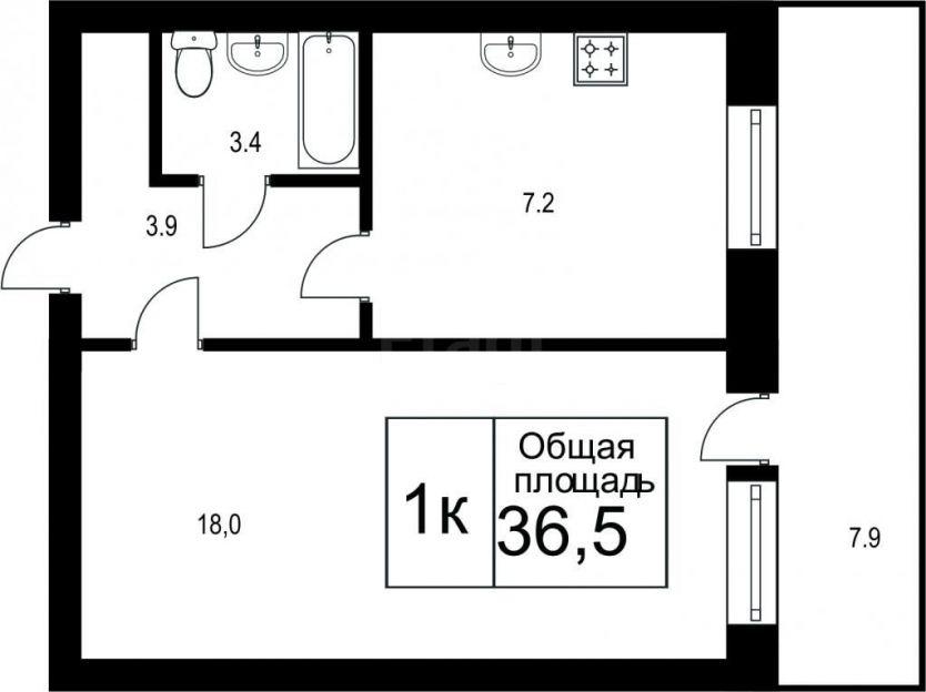 Продается однокомнатная квартира за 2 800 000 рублей. Томск, Октябрьский район, Андрея Крячкова, 19.