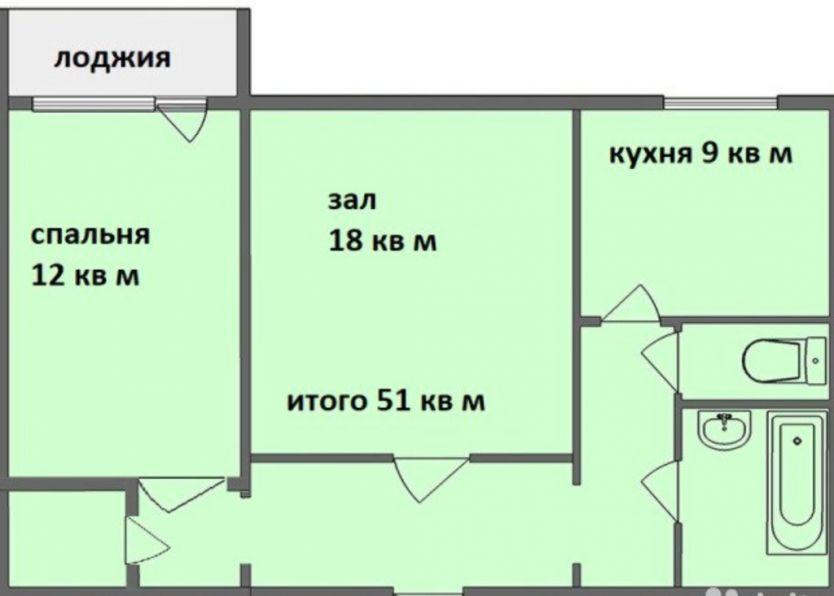 Продается двухкомнатная квартира за 2 600 000 рублей. г Красноярск, ул Энергетиков, д 22.
