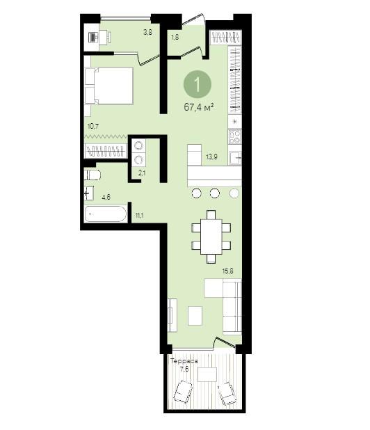Продается однокомнатная квартира за 5 400 000 рублей. Екатеринбург, Ленинский район, Шаумяна, 15.