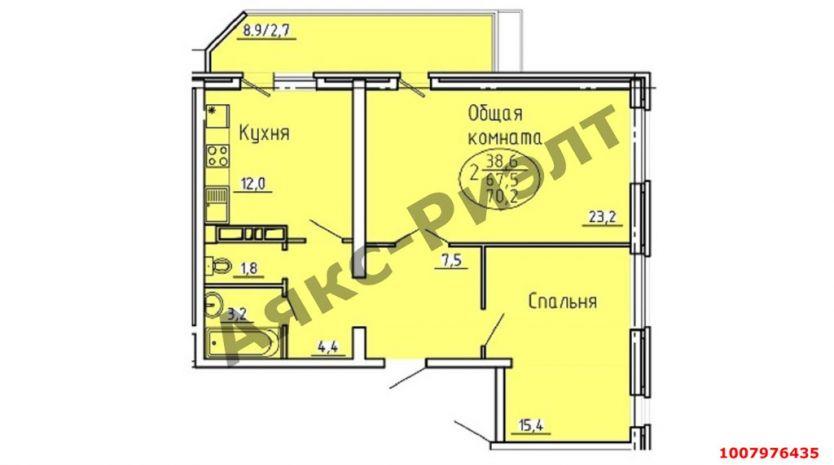 Продается двухкомнатная квартира за 4 900 000 рублей. Краснодар, Центральный, Железнодорожная, 24.