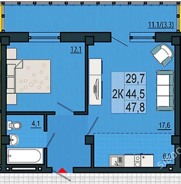 Продается двухкомнатная квартира за 2 284 000 рублей. Красноярск, Свердловский район, Александра Матросова, 30пс2.