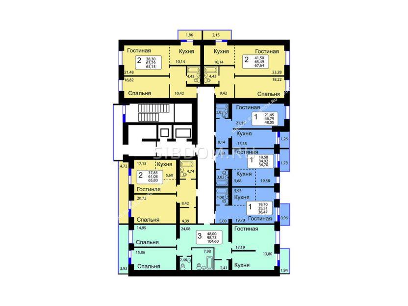 Продается двухкомнатная квартира за 3 275 000 рублей. Красноярск, Октябрьский район, Елены Стасовой, 38г.