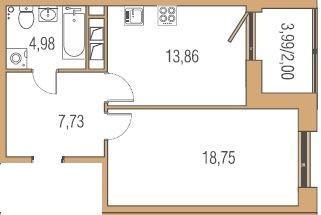 Продается однокомнатная квартира за 2 958 600 рублей. Пермь, Ленинский район, Луначарского, 99 секц. 2.