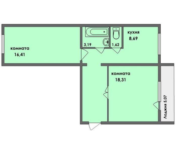 Продается двухкомнатная квартира за 2 600 000 рублей. Челябинск, Калининский район, Художника Русакова, 5б.