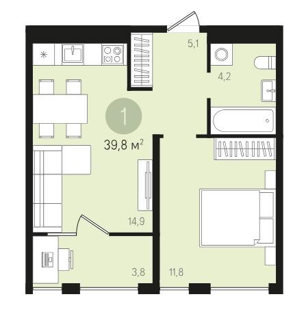 Продается однокомнатная квартира за 2 240 000 рублей. Екатеринбург, Верх-Исетский район, Евгения Савкова, 33.