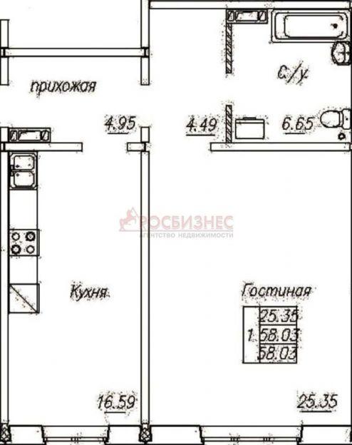 Продается однокомнатная квартира за 1 900 000 рублей. Новосибирск, Октябрьский район, В. Высоцкого, 150/2.