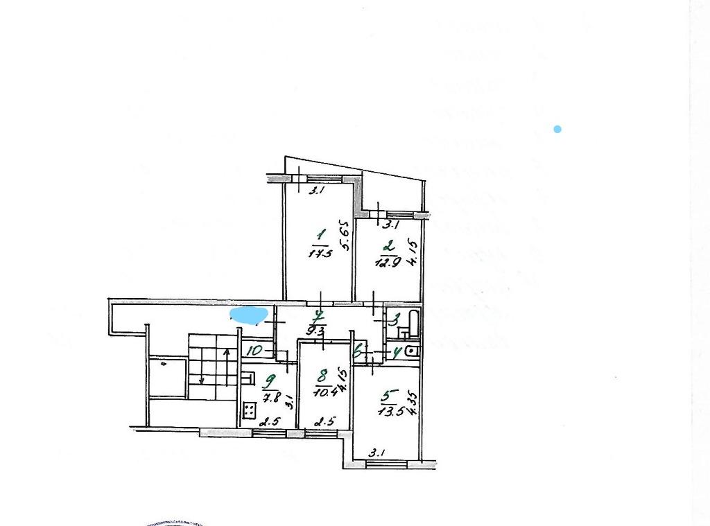 Продается четырехкомнатная квартира за 1 400 000 рублей. Орловская область, Мценск,  район, Катукова, 7.